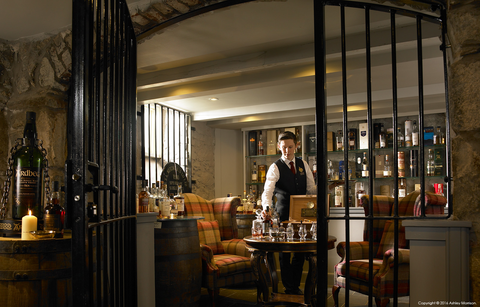The Whisky tastings room in the basement at the Trump International Golf Hotel near Aberdeen in Scotland.